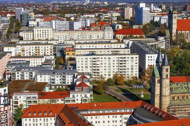 Innenstadt von Magdeburg aus der Luft