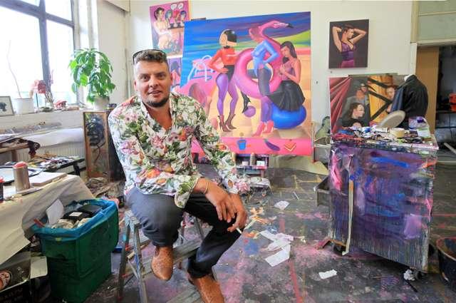 Robin Zöffzig im Atelier Baumwollspinnerei