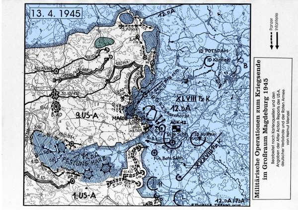 Karte von Magdeburg am 13. April